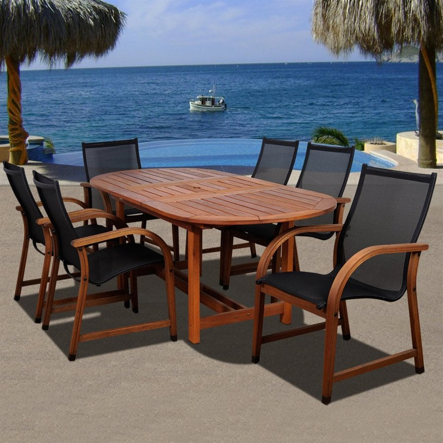 International Home Amazonia 7 Piece Brown Aluminum Dining Patio Dining Set
