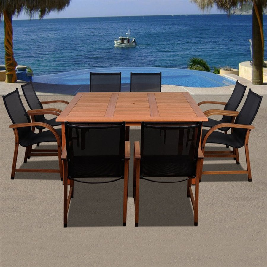Shop International Home Amazonia 9 Piece Eucalyptus Patio Dining Set At Lowes