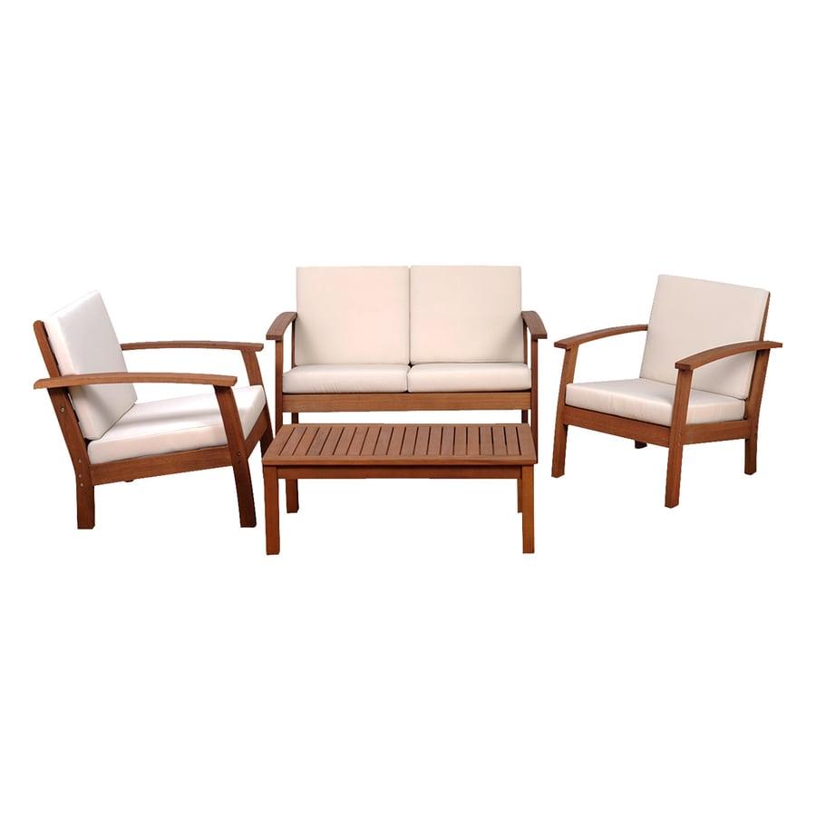 Shop international home amazonia 4 piece eucalyptus patio for Patio conversation sets