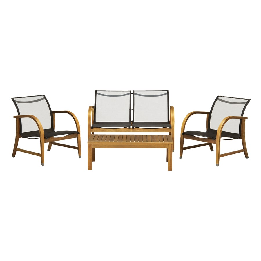 International Home Amazonia 4-Piece Eucalyptus Patio Conversation Set