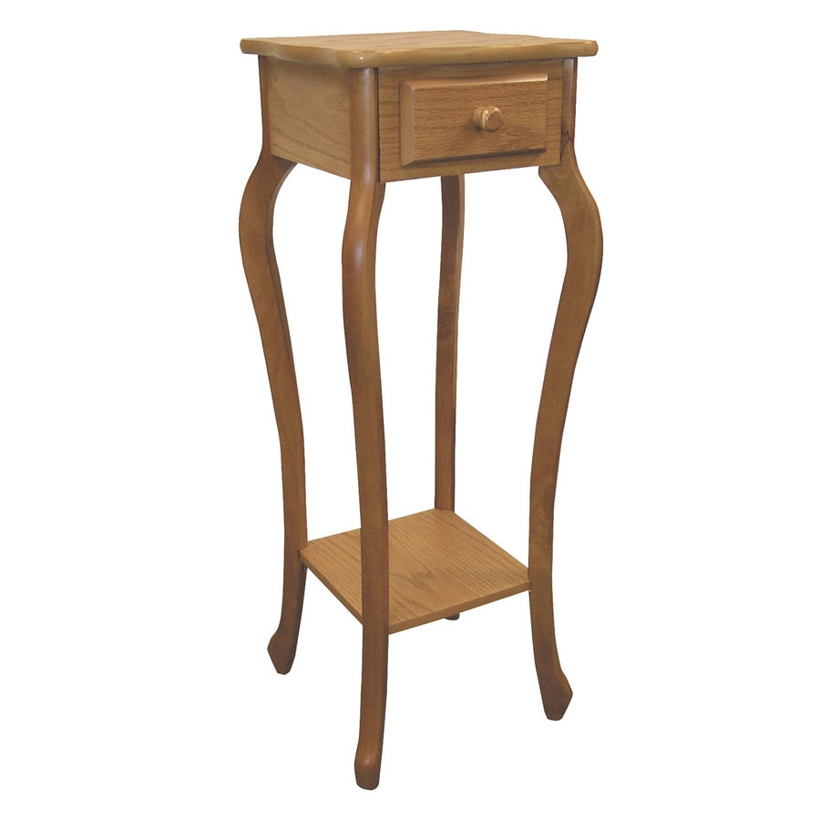 ORE International 32.5-in Warm Oak Square Wood Plant Stand