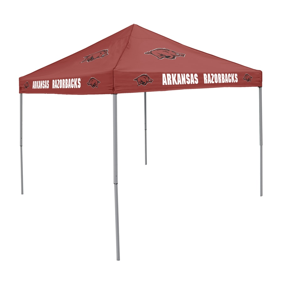 Logo Chairs Tailgating Tent 9-ft W x 9-ft L Square NCAA University Of Arkansas Razorbacks Steel Pop-Up Canopy