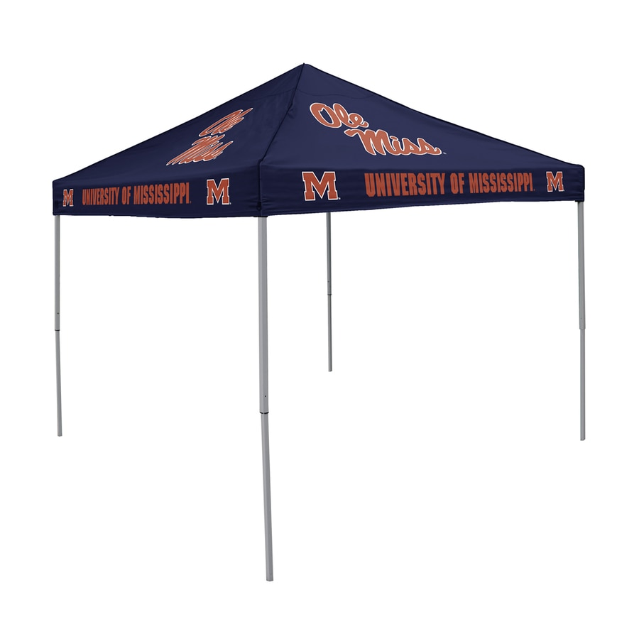 Logo Chairs Tailgating Tent 9-ft W x 9-ft L Square NCAA Ole Miss Rebels Steel Pop-Up Canopy