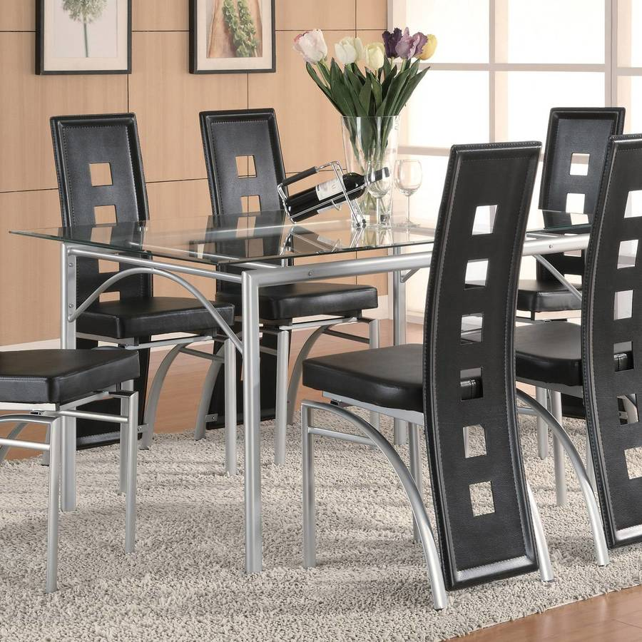 Coaster Fine Furniture Los Feliz Silver Rectangular Dining Table