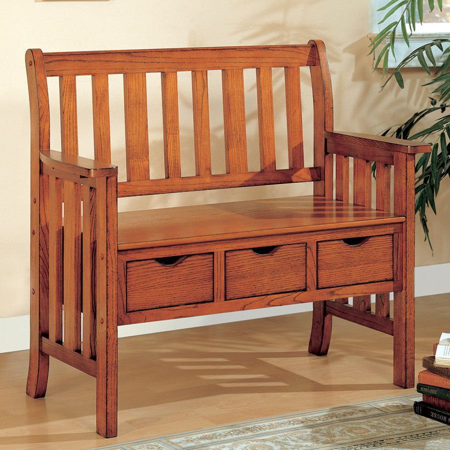 Coaster Fine Furniture Brown Cherry Indoor Entryway Bench with Storage