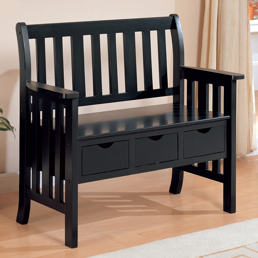 Coaster fine furniture black indoor entryway bench with storage