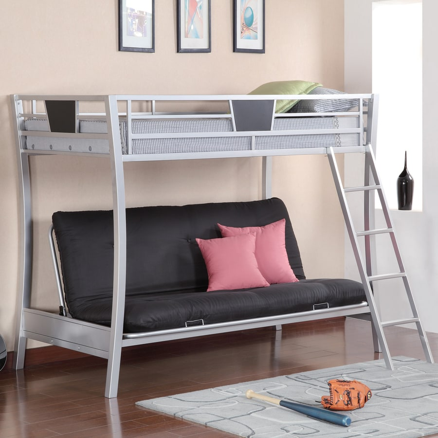 coaster fine furniture silver twin over futon bunk bed shop coaster fine furniture silver twin over futon bunk bed at      rh   lowes