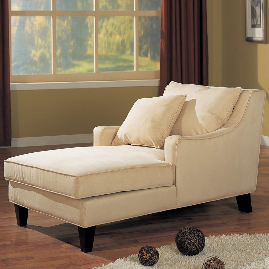 Shop coaster fine furniture beige cappuccino microfiber for Accent traditional chaise by coaster