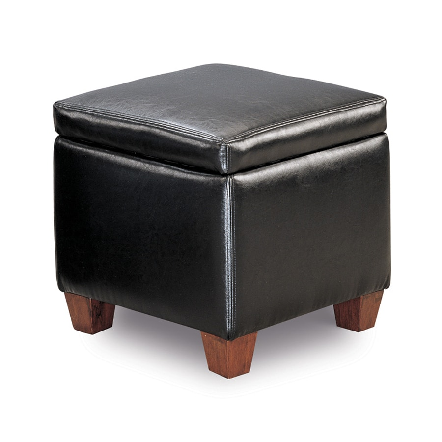 Coaster Fine Furniture Black Faux Leather Ottoman