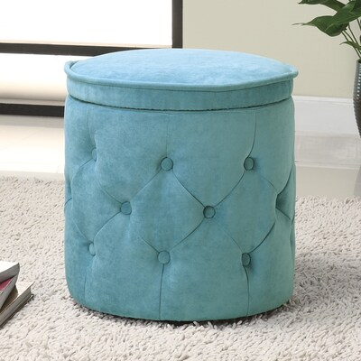 Tremendous Coaster Fine Furniture Blue Round Storage Ottoman At Lowes Com Machost Co Dining Chair Design Ideas Machostcouk