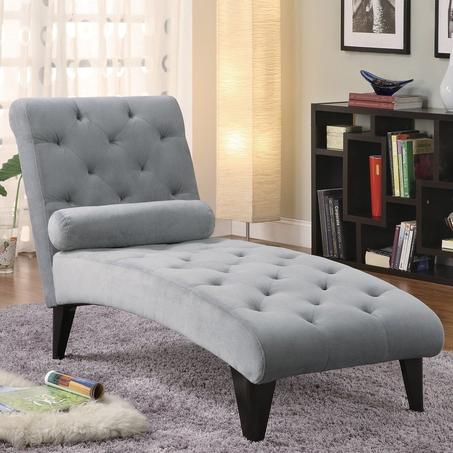 Coaster Fine Furniture Grey Velour Chaise Lounge