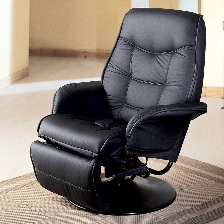 Coaster Fine Furniture Black Faux Leather Swiveling Recliner