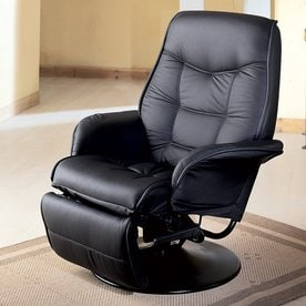 Coaster Fine Furniture Black Faux Leather Swiveling Recliner & Shop Recliners at Lowes.com islam-shia.org