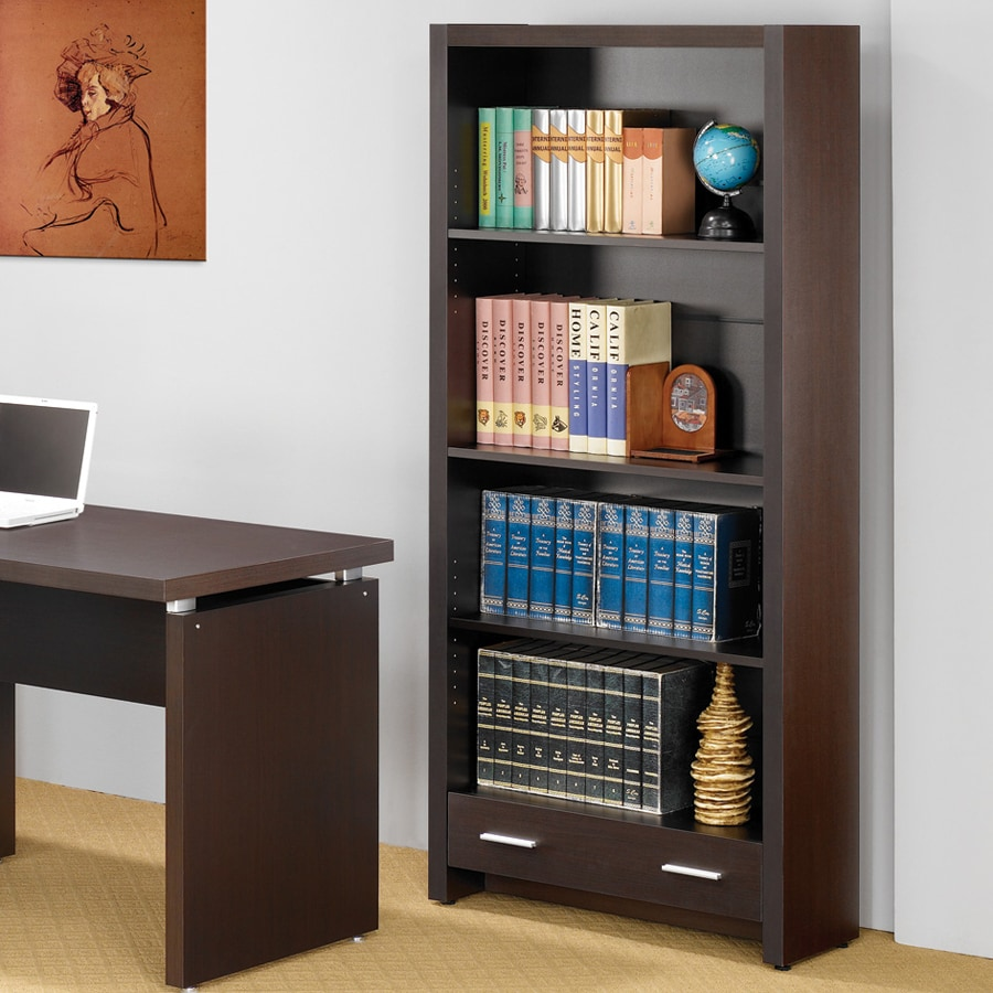 Coaster Fine Furniture Cappuccino 31.5-in W x 70.75-in H x 11.75-in D 4-Shelf Bookcase