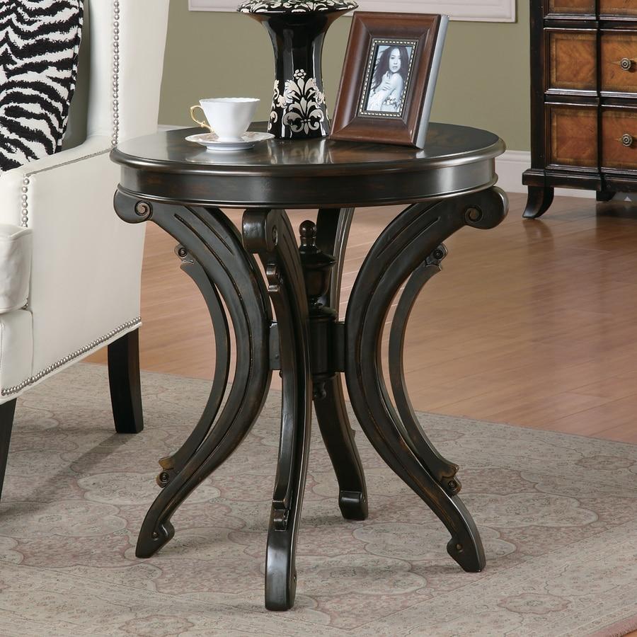 Coaster Fine Furniture Poker Table: Coaster Fine Furniture Black Round End Table At Lowes.com