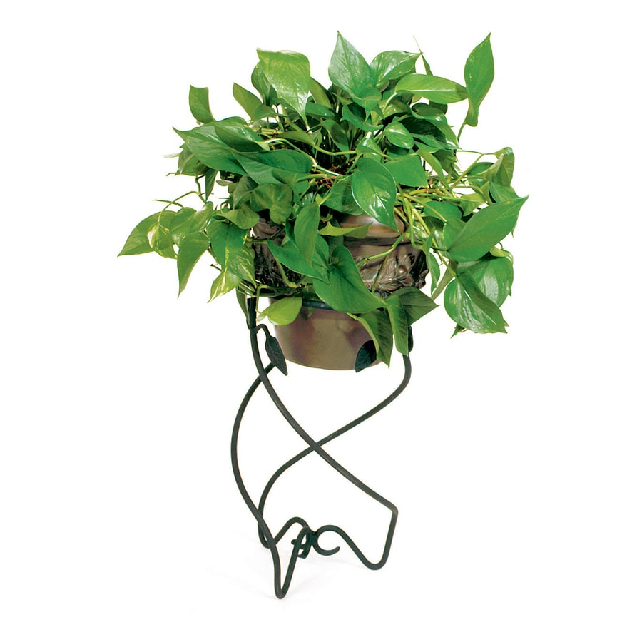 ACHLA Designs Helix 22-in Black Indoor/Outdoor Round Wrought Iron Plant Stand