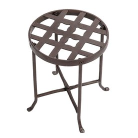 Achla Designs Flowers 12 In Roman Bronze Indoor Outdoor Round Wrought Iron Plant Stand