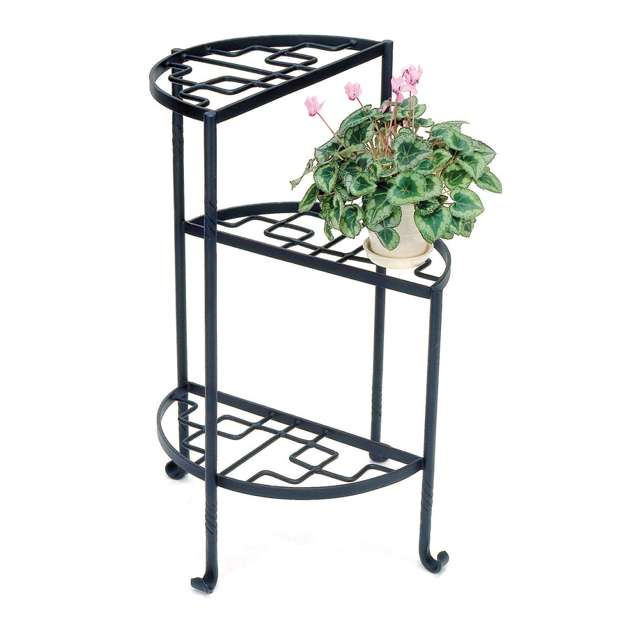 Shop achla designs iris 31 5 in black indoor outdoor half Plant stands for indoors