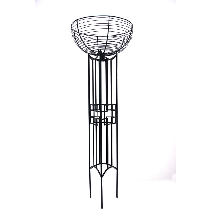 ACHLA Designs Square-On-Squares 70-in Graphite Indoor/Outdoor Round Wrought Iron Plant Stand