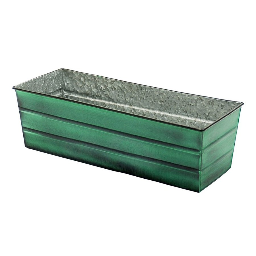ACHLA Designs 24-in x 7.5-in Green Patina Metal Flower Box Planter