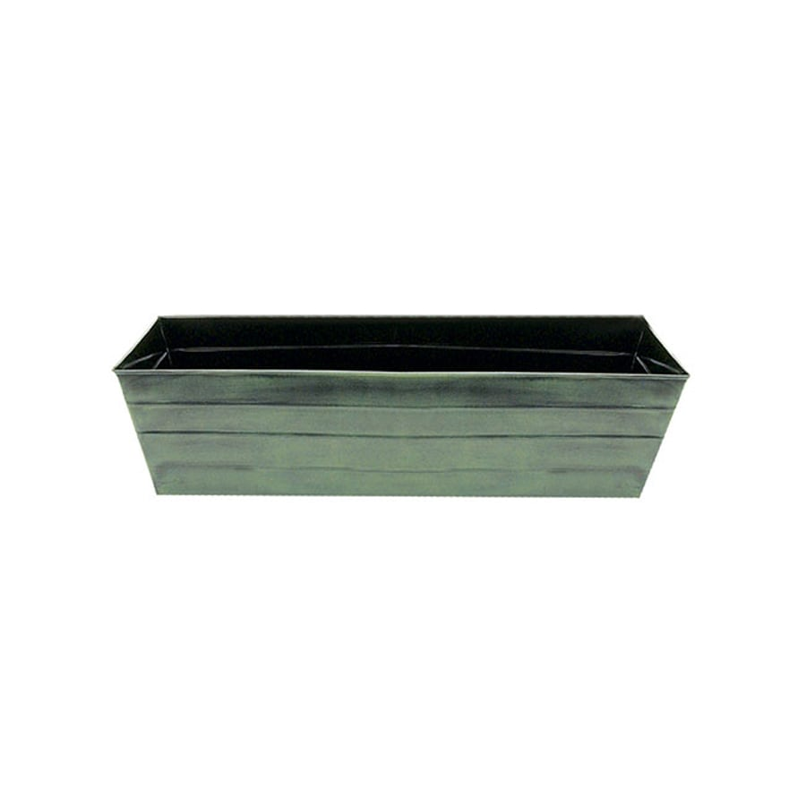 ACHLA Designs 36-in x 9.5-in Green Patina Metal Flower Box Planter