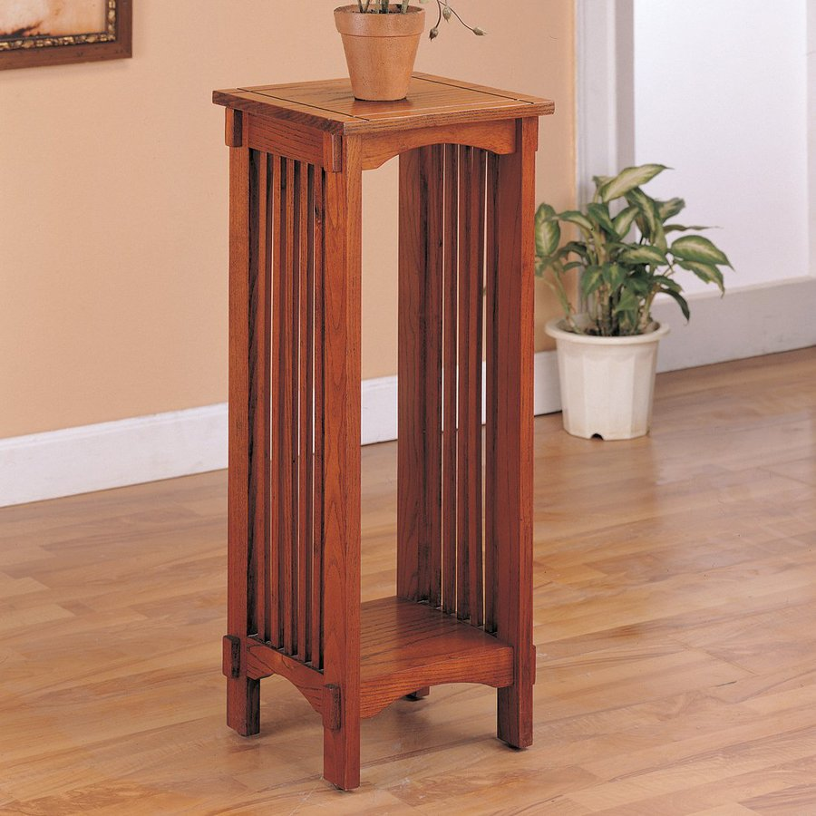 Coaster Fine Furniture 30 In Oak Indoor Square Wood Plant Stand