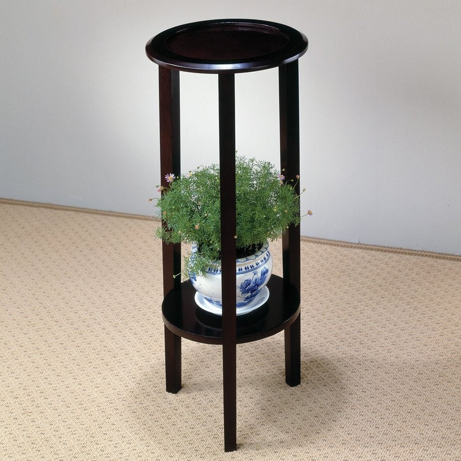 Coaster Fine Furniture 28.5-in Cappuccino Indoor Round Wood Plant Stand
