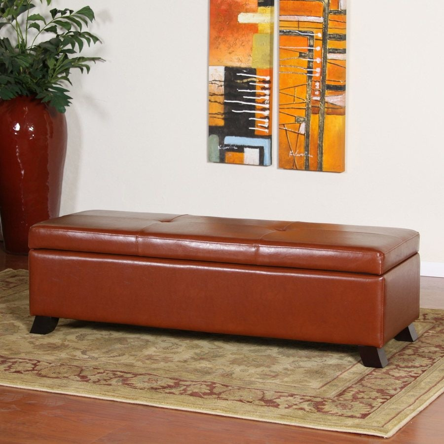 Best Selling Home Decor Cambridge Casual Saddle Brown Faux Leather Storage  Ottoman