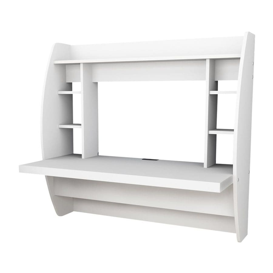 Shop prepac furniture transitional white floating desk at for Mesa para computadora