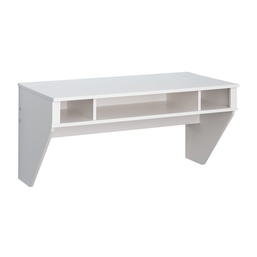 Prepac Furniture Designer Transitional Fresh White Floating Desk