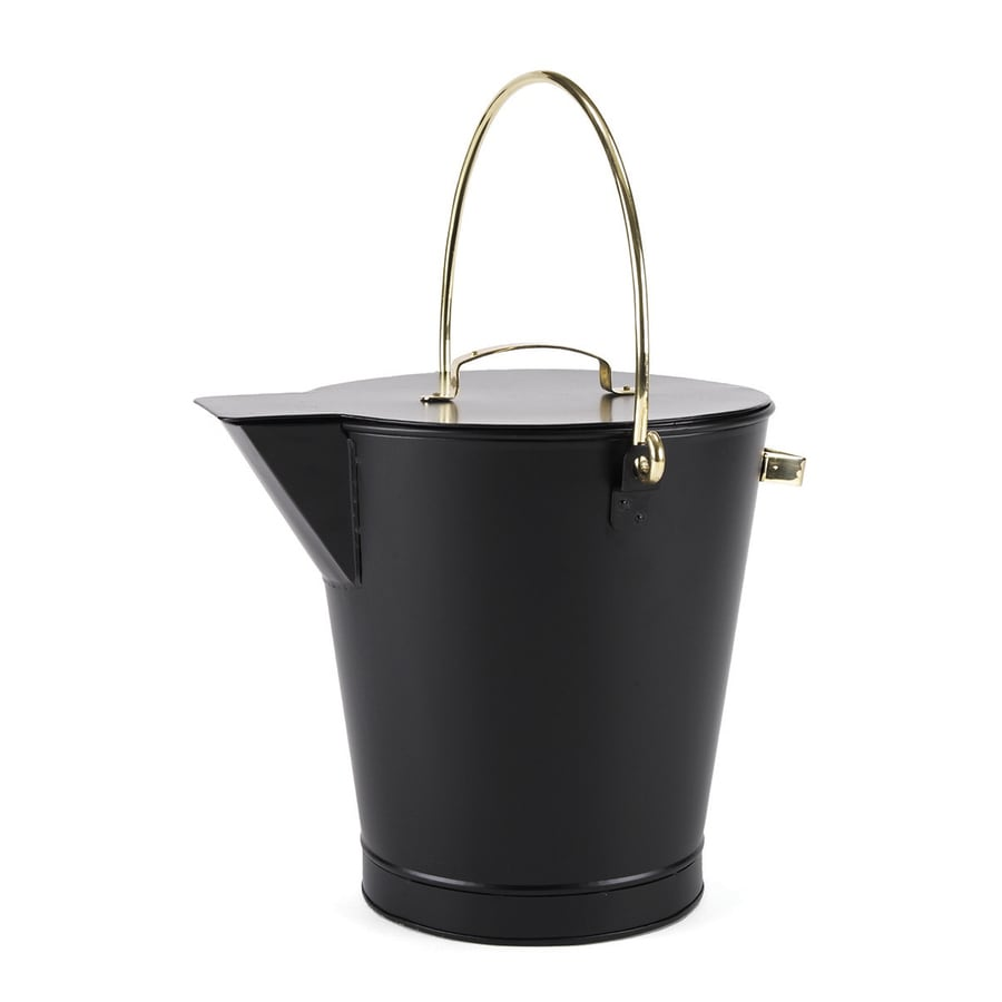 Shop ACHLA Designs Black Steel Ash Bucket At Lowes