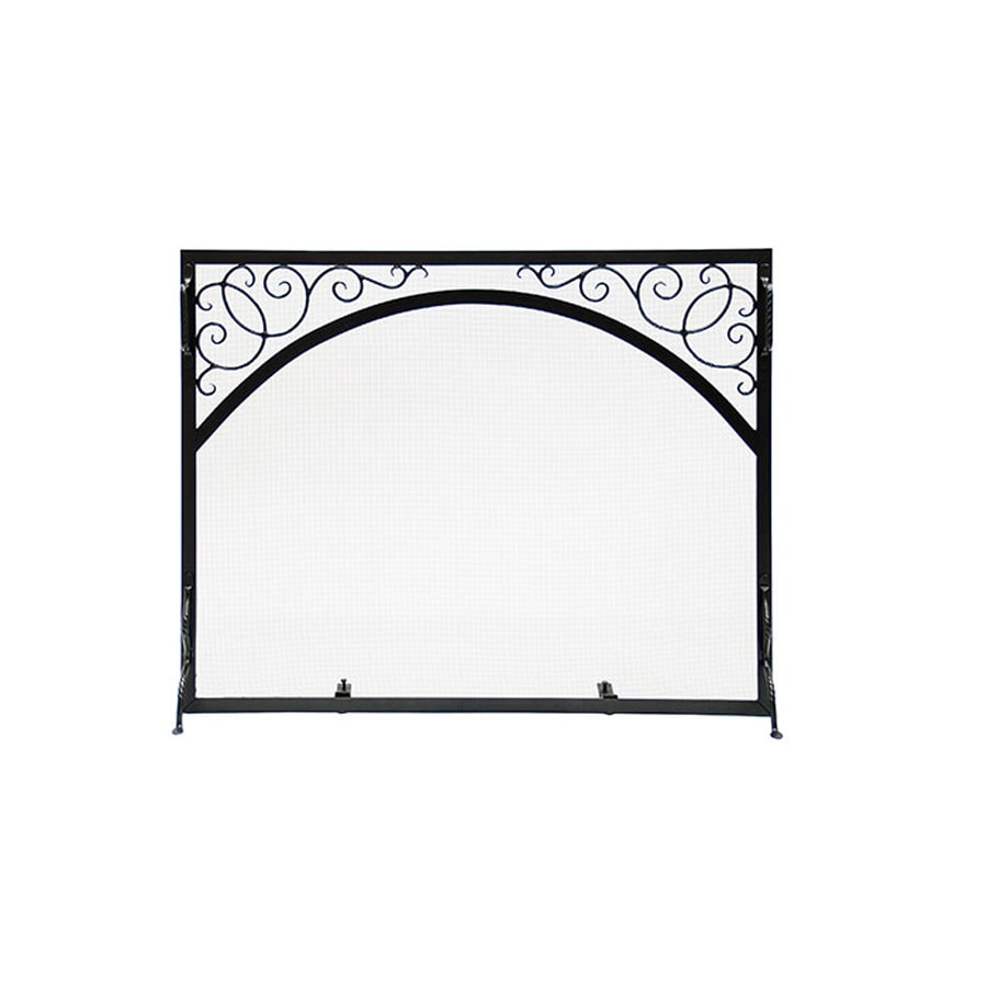 ACHLA Designs 33-in Graphite Iron Scroll Fireplace Screen
