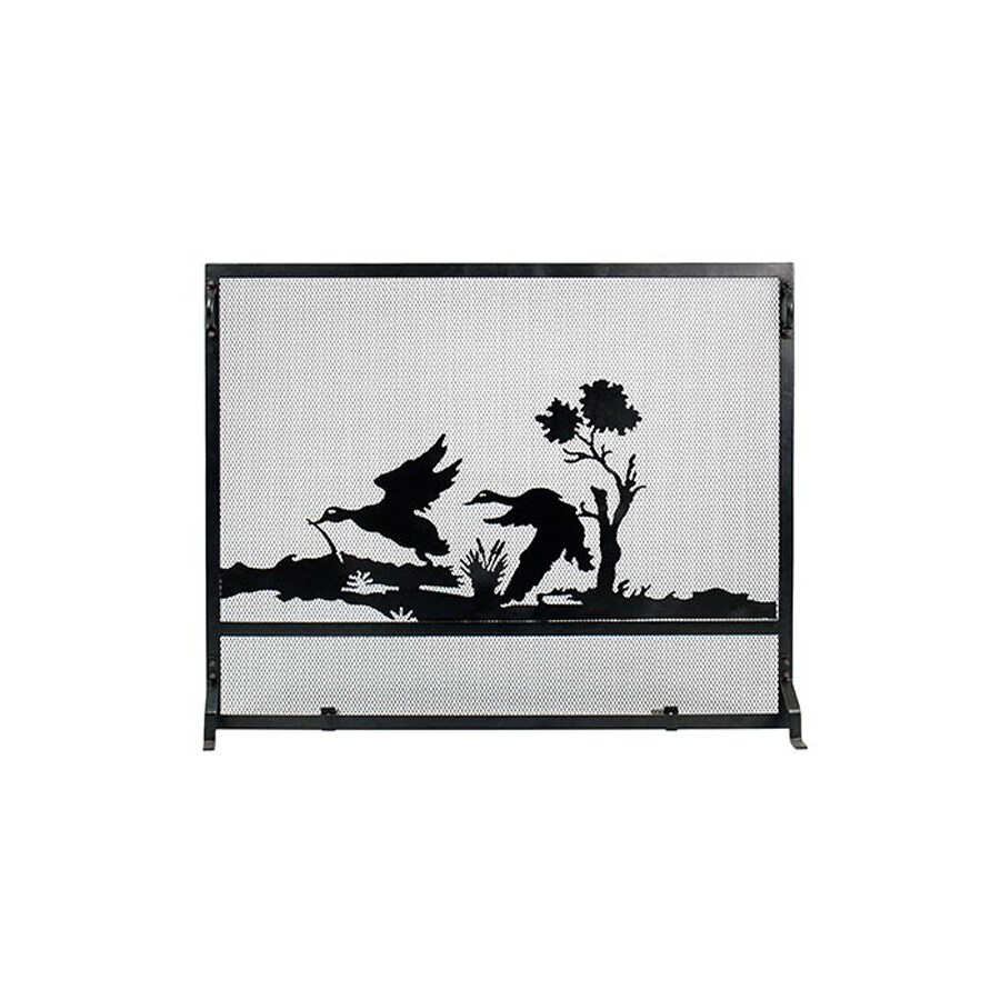 ACHLA Designs 38-in Black Iron 1-Panel Flat (No Doors) Fireplace Screen