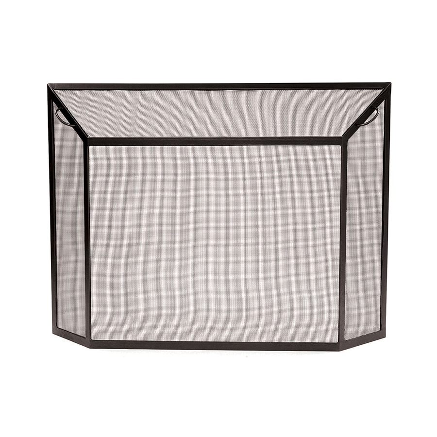 ACHLA Designs 44-in Graphite Iron Flat Fireplace Screen