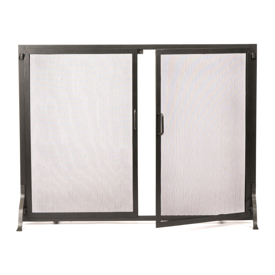 ACHLA Designs 44-in Graphite Iron Flat Twin Fireplace Screen