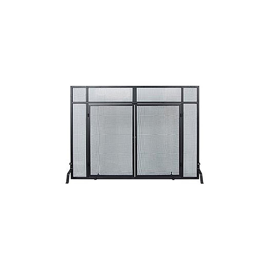 ACHLA Designs 50-in Black Iron Flat Twin Fireplace Screen