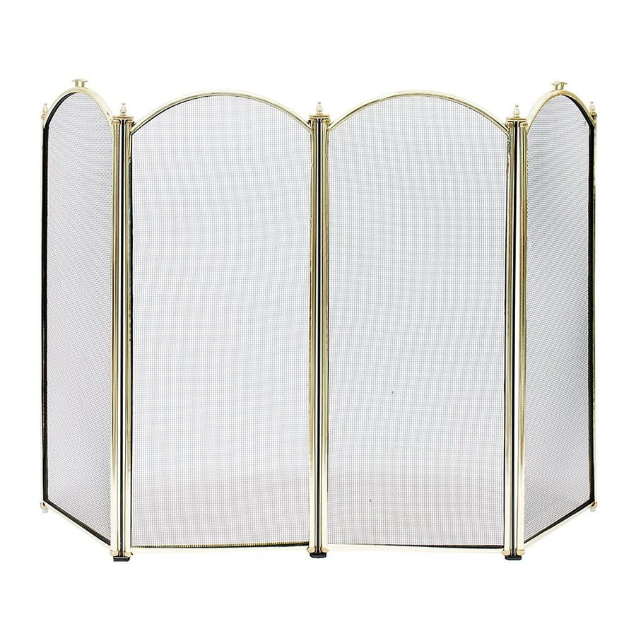 in polished brass steel 4 panel arched fireplace screen at