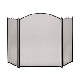ACHLA Designs 52-in Black Steel 3-Panel Arched Fireplace Screen