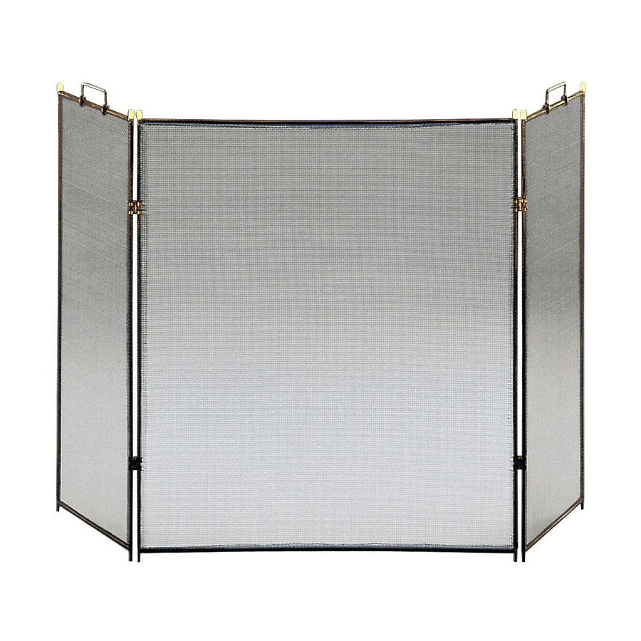 ACHLA Designs 52-in Black Steel 3-Panel Flat Fireplace Screen