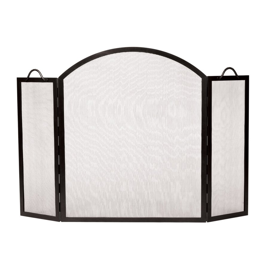 ACHLA Designs 52-in Graphite Iron 3-Panel Arched Fireplace Screen