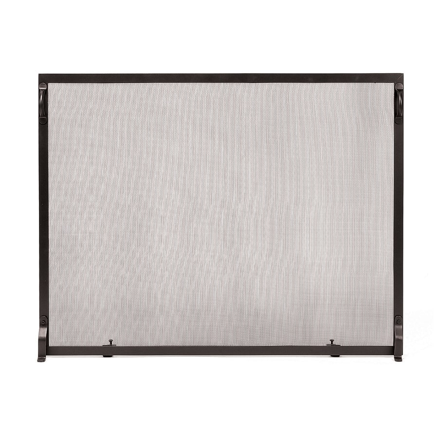 ACHLA Designs 38-in Graphite Iron 1-Panel Flat (No Doors) Fireplace Screen