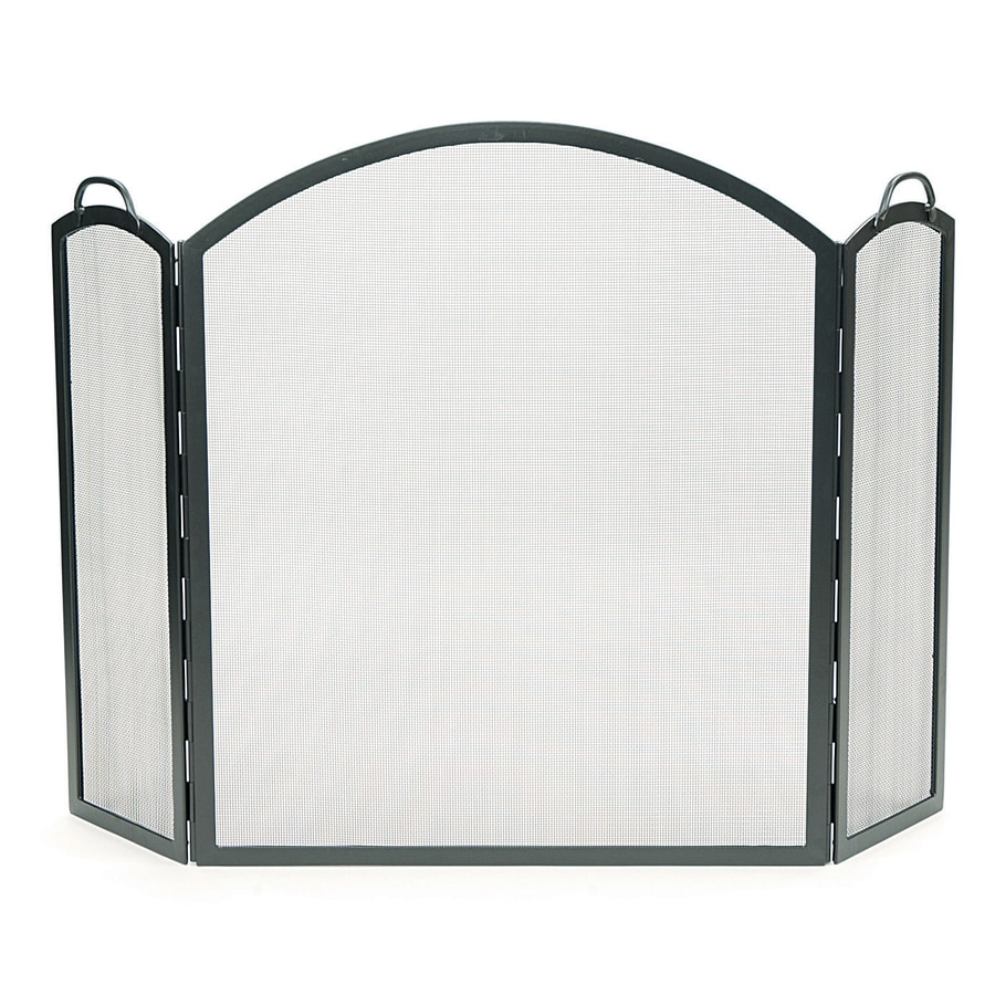 ACHLA Designs 58-in Graphite Iron 3-Panel Arched (No Doors) Fireplace Screen