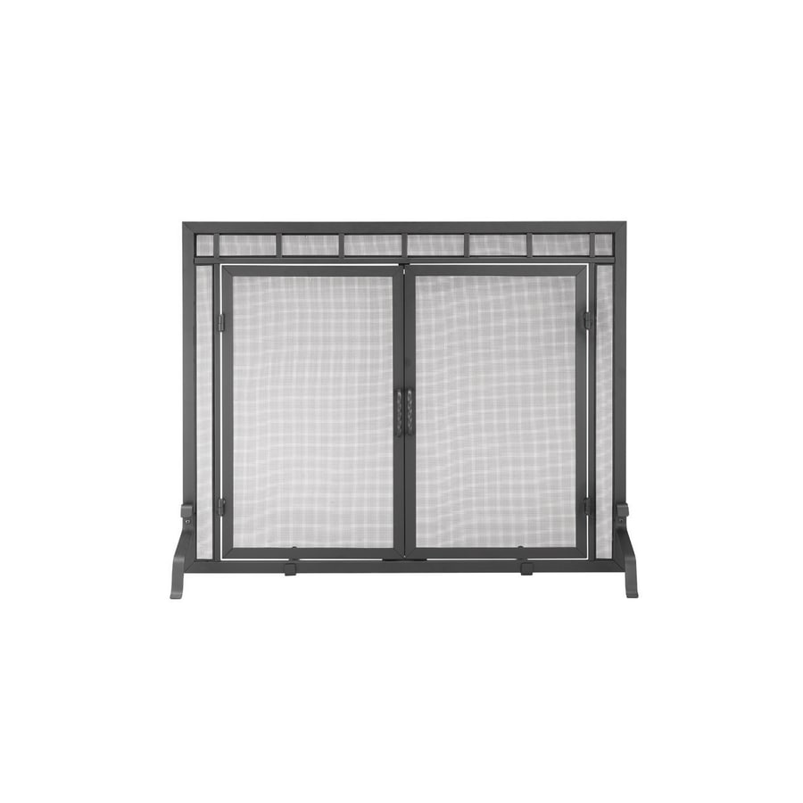 ACHLA Designs 39-in Black Iron Flat Twin Fireplace Screen