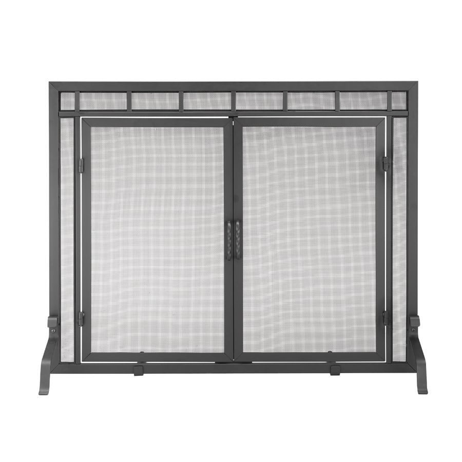 ACHLA Designs 44-in Black Iron Flat Twin Fireplace Screen