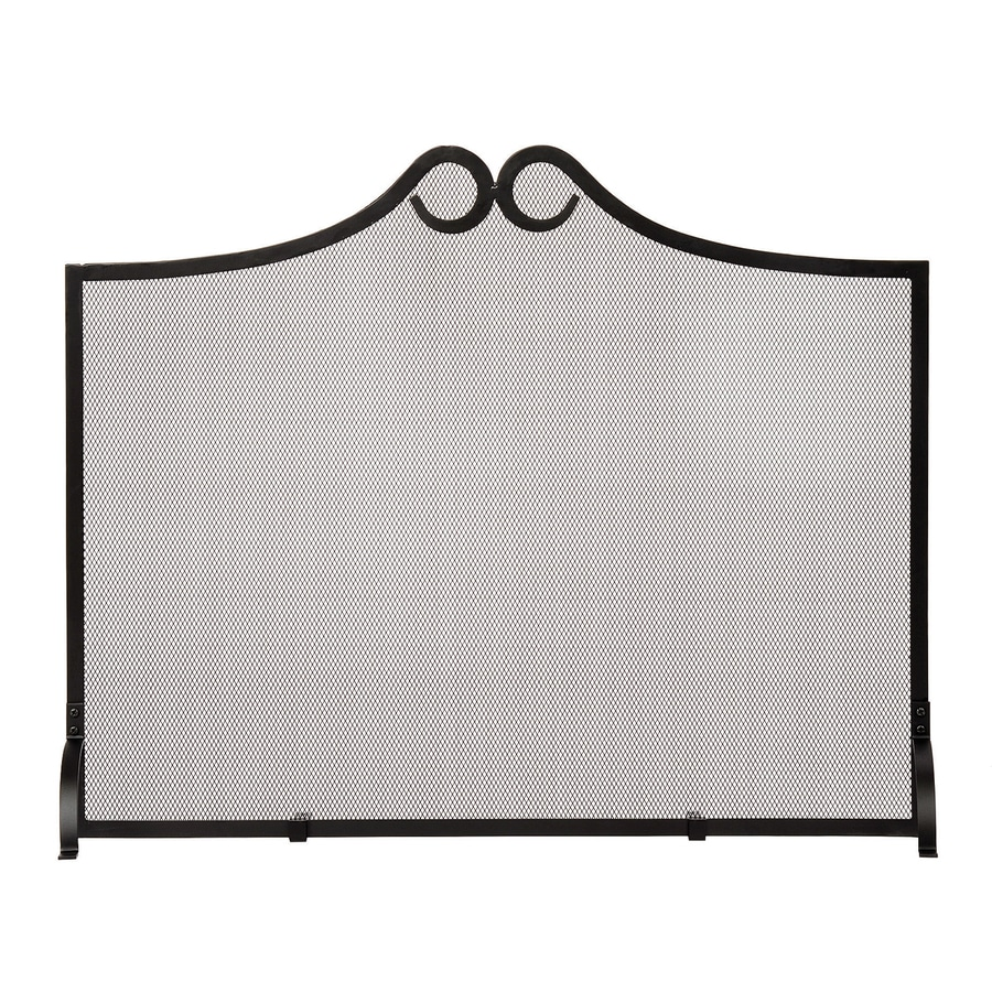 ACHLA Designs 38-in Black Iron 1-Panel Arched (No Doors) Fireplace Screen