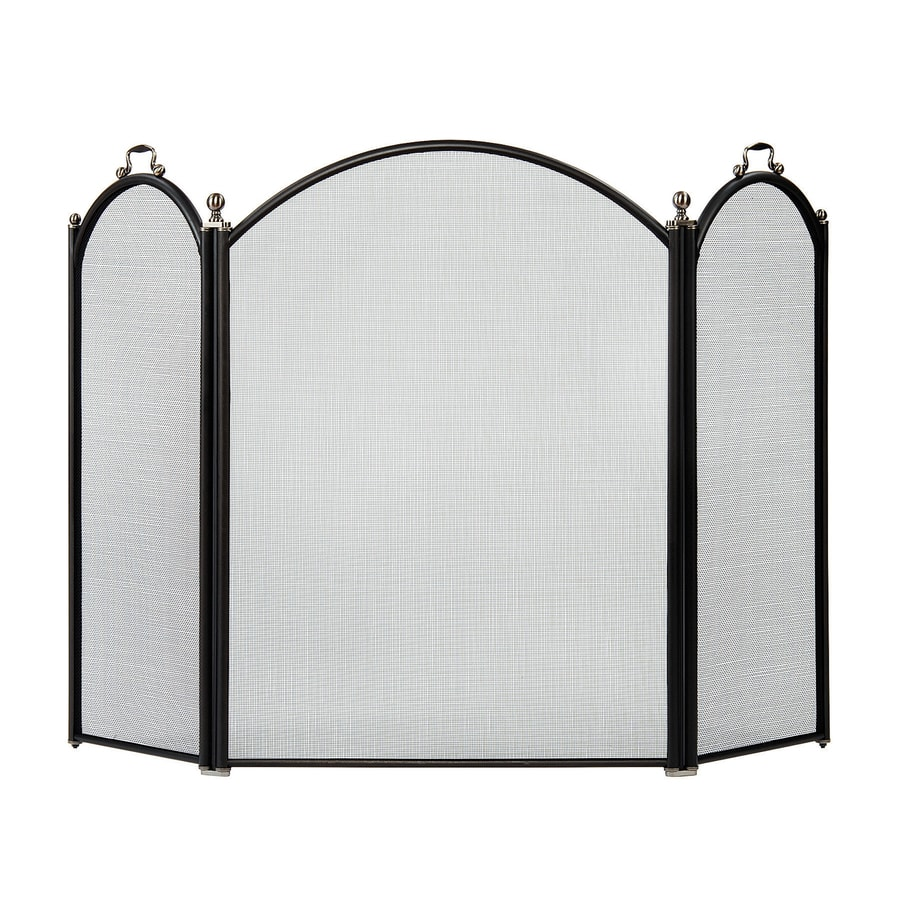 51 5 in graphite steel 3 panel arched fireplace screen at