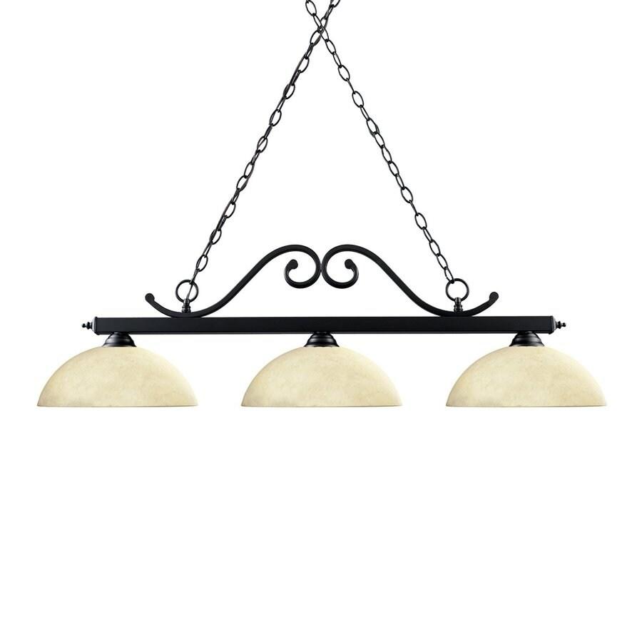 Z-Lite Windsor 14-in W 3-Light Matte Black/Golden Mottle Kitchen Island Light with Tinted Shade