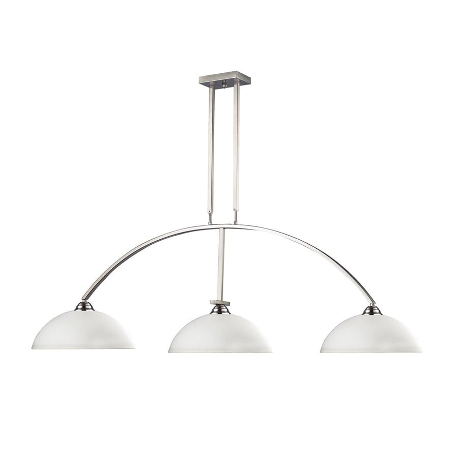 Z-Lite Martini 14-in W 3-Light Brushed Nickel/Matte Opal Kitchen Island Light with White Shade