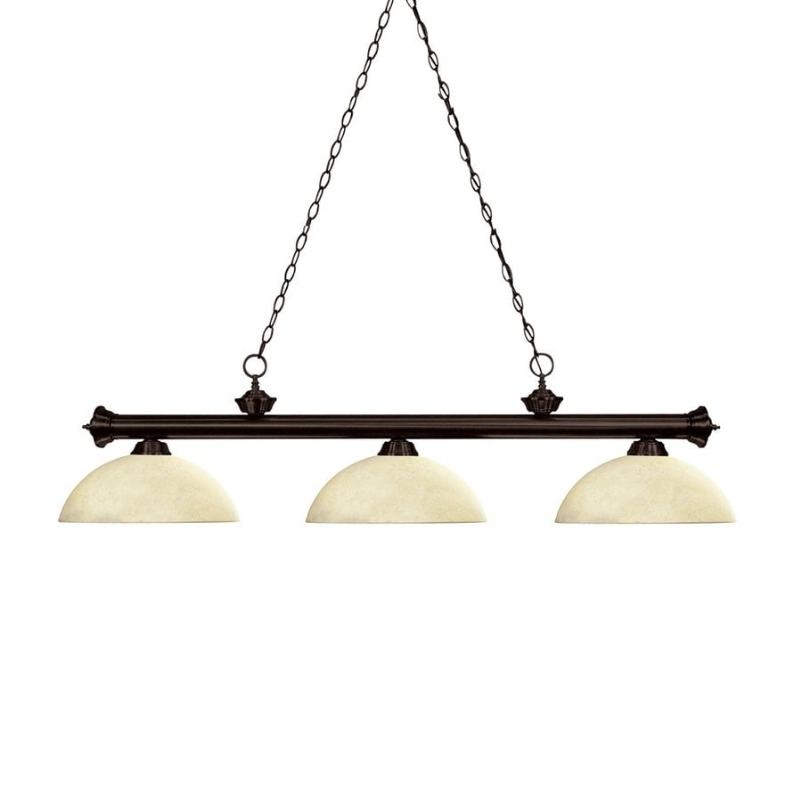 Z-Lite Riviera 14-in W 3-Light Bronze/Golden Mottle Kitchen Island Light with Tinted Shade