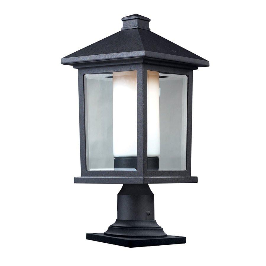 Z-Lite Mesa 22-in H Black/Clear Beveled/Matte Opal Post Light
